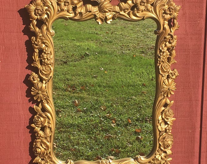 Vintage Rococo Gilt Mirror, Decorative Gold Wood Carving, Roses & Ribbons Wall Hanging, Carved Vanity Mirror, Foyer Entryway Decor