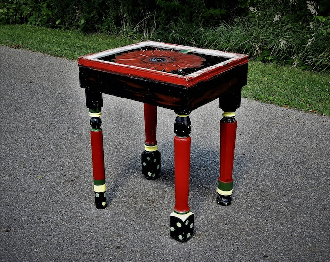 Vintage Boho Table, Wood Accent Furniture, Lipstick Red & Black, Chippy Distress Decor, Painted Glass Top, Polka Dot, Soft Yellow and Green
