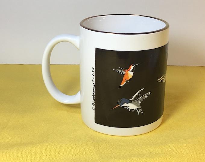 "Vintage Hummingbird Mug, Linyl Wondermugs USA Mug Cup, Hummingbird Art Hand Painted Mugs Cups, Black & White Mug, Silver Phoenix China 3.75"""