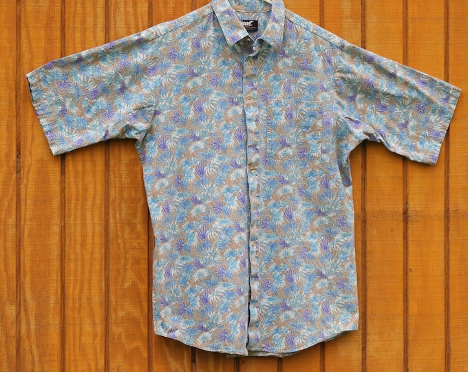 Vintage Psychedelic Button Up, Men's Large Impact Shirt, Casual Blue Short Sleeve, Purple Fauna Fashion, Button Down Vacation Shirt