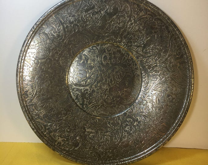 "Antique Silver Plate W.B. Mfg. Co. 3808, Floral Tapestry Silver Plate, Primitive Dinnerware, 10"" Embossed Silver Plate,Collectors Plate Dish"
