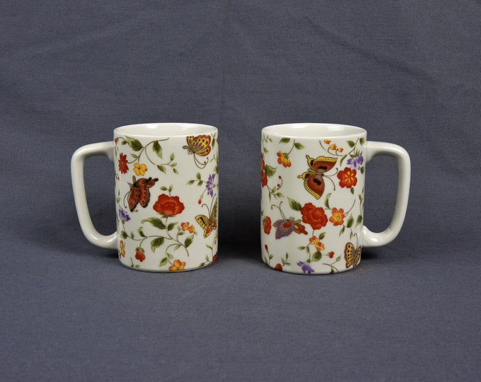 Vintage Butterfly Mugs (2), Oriental Stoneware, White & Orange, Gold Accent, Coffee Cups, Kitchen Decor, Oriental Garden, Otagiri