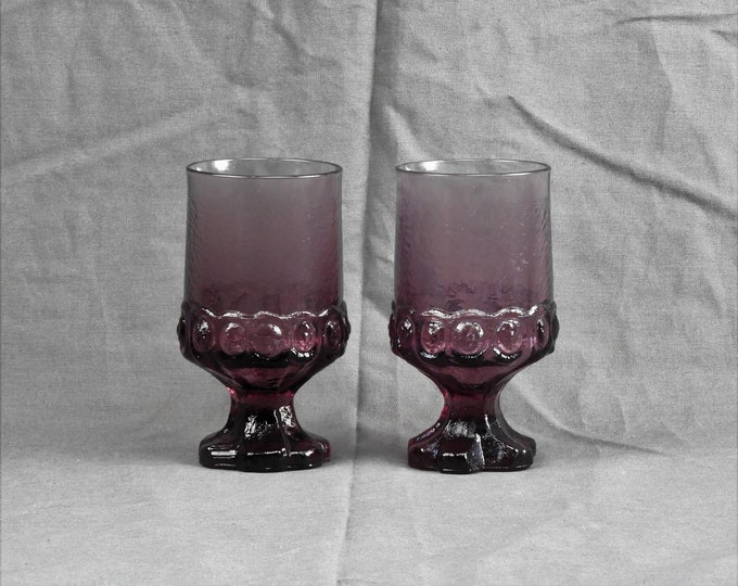 Vintage Tiffin Goblets (2), Franciscan Madeira, Crystal Plum Purple, Water Glasses, Glass Cups, Collectible Glassware, Kitchen Decor