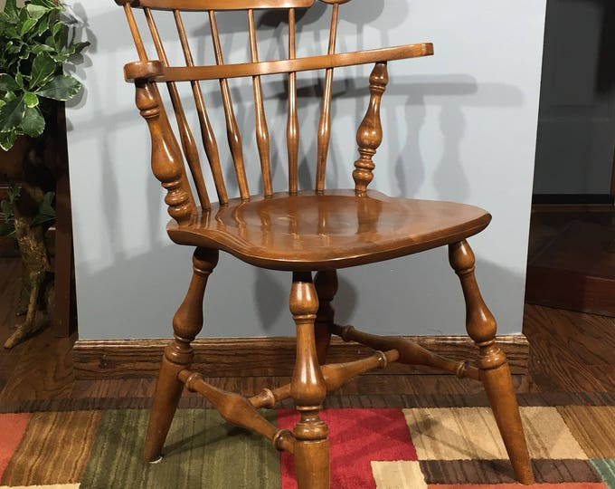 Vintage Ethan Allen Chair, 10-6040 Ethan Allen Side Chair, Decorative Brown Chair, Old Wood Accent Chair, Windsor Style Wide Back Seat