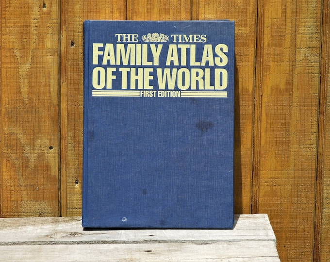 Vintage World Atlas, The Times Family Atlas, Rare First Edition, 1988 Hardback, Blue & Gold Maps Book, Collectible Library Decor