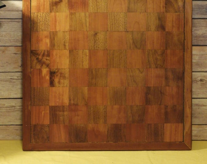 Vintage Wooden Checkerboard, Game Room Wall Decor, Wood Squares Collectible, Game Board, Framed Sports Decoration, Mid Century Decoration