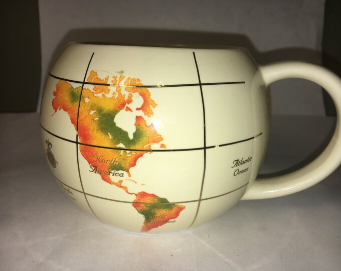 Vintage Planet Mug, White & Orange Mug, Globe Mug, Decorative Hemisphere Mug, Collectors Ceramic Globe Mug Gold Trim 1993, made in Thailand
