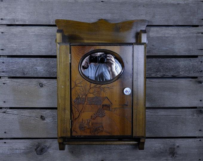 Vintage Country Cabinet, Covered Bridge, Wall Hanging, Brown Wood, Wooden Shelf, Bathroom Shelves, Farm Wagon, Home Decor, Towel Holder