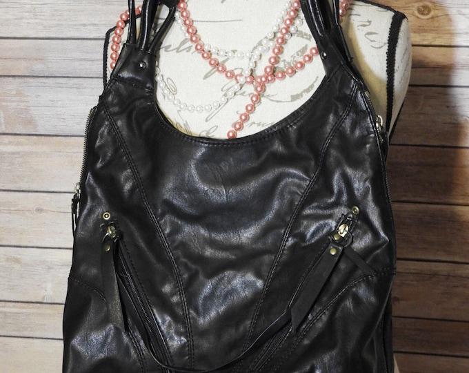 Vintage ANA Black Leather Expandable Bucket Shoulder Hand Bag, Single Section Leather Shoulder Bag,Black Leather A N A Shopper,Made in China