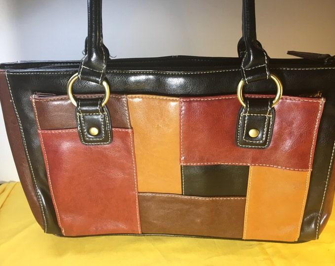 "Vintage Bueno Shoulder Bag, Retro Hand Held Purse, Chocolate Black Mustard Red Leather Shoulder Bag w/Stripes, Round Leather Handle Bag, 13"""