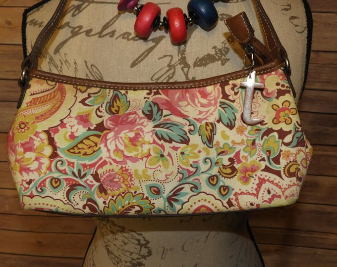 Vintage Relic Evening Handbag, Pink & Green Paisley Floral Design Relic Purse Hand Bag, Multi-Section Handbag
