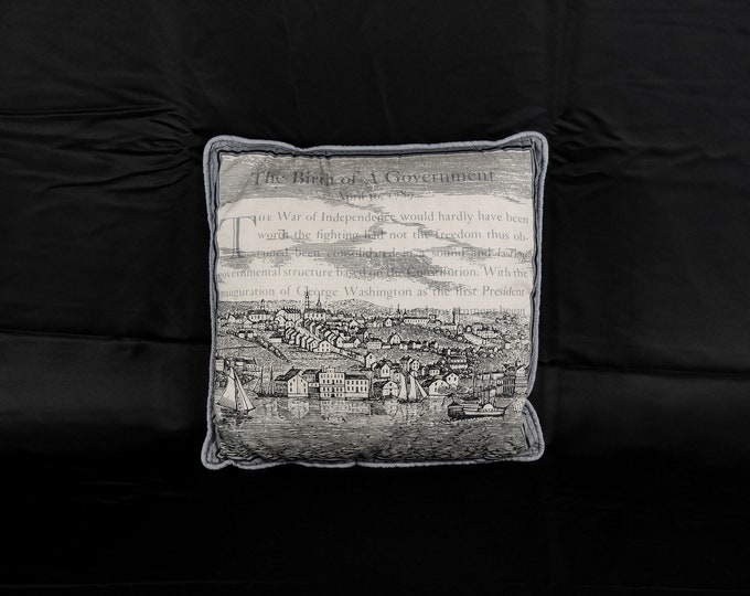 Vintage Patriotic Pillow, Couch Cushion, Old Glory, Fulton Clermont, Hudson River, George Washington, Gray & Off White, Home Decor, New York
