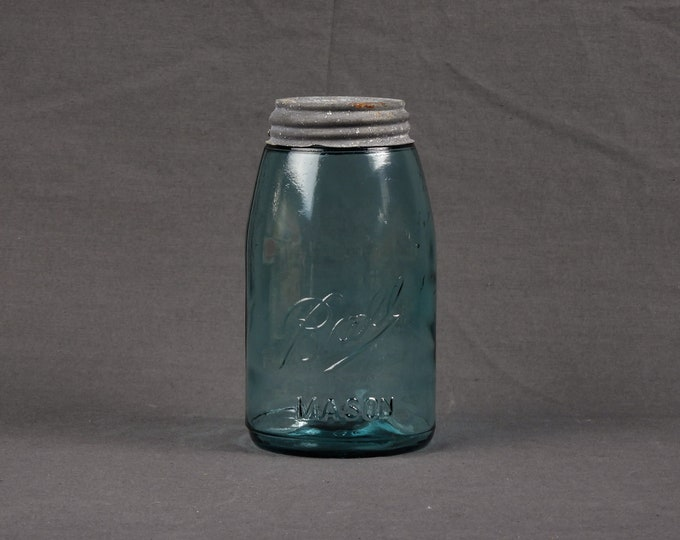 Antique Fruit Jar, Ball Mason, Teal Blue, Rustic Gray, Zinc Lid, Quart Size, Glass Collectible, Wavy Bubble, Kitchen Storage, Home Decor