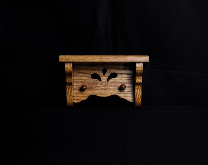 Vintage Oak Shelf, Small Wooden Pins, Honey Brown, Wall Hanging, Vanity Display, Home Decor, Figurine Holder, Jewelry Hanger