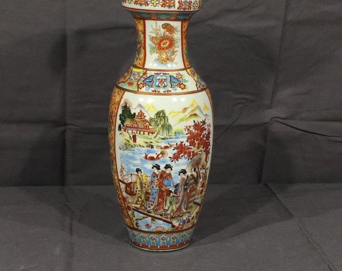 Vintage Chinese Vase, Decorative Red & Blue Vase, Living Room Decor, Oriental Family Vase, Ceramic Collectible, Pottery Art Vase