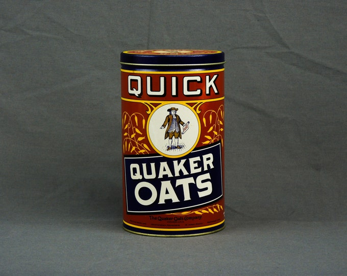 Vintage Advertising Tin, Quaker Oats, 1990 Limited Edition, 1922 Replica Label, Red & Blue, Metal Can, Kitchen Decor, Storage Canister