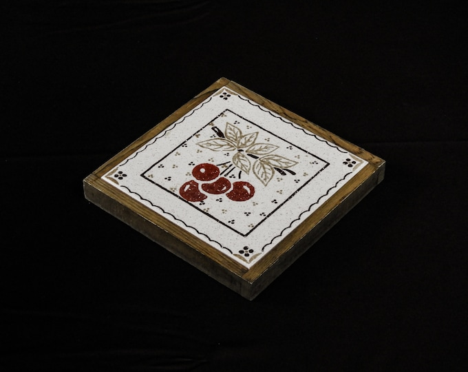 Vintage Kitchen Trivet, Ceramic Tile, Square Brown Frame, Wooden Frame, Brown w Red, Off White Ceramica, S Marco, Made in Italy, Home Decor