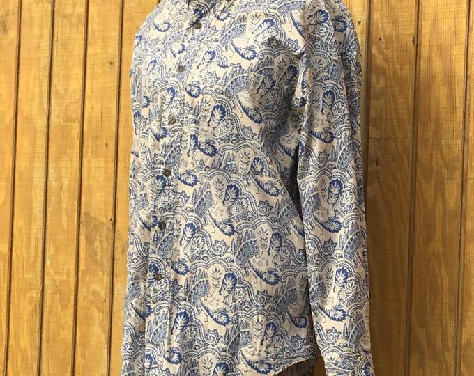 Vintage Men's Chaps Shirt, Large Chaps Shirt, Ralph Lauren Button-Down Style, Gold & Blue Paisley Fashion, 100% Cotton, Designer Shirt