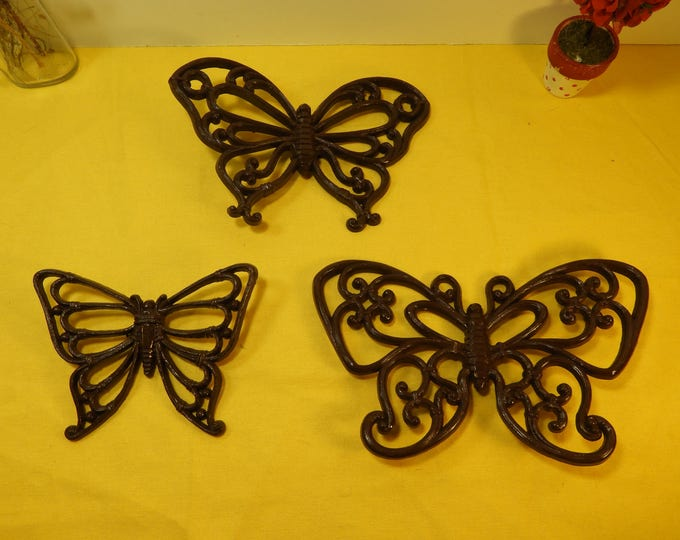 Vintage Homco Inc Butterflies (3), Decorative Brown Butterflies, Wall Hanging Butterflies, Homco Plastic Wall Decor, Retro Butterfly Decor