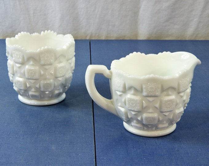 Vintage Westmoreland Glass, Creamer & Sugar Bowl, White Milk Glass, Quilted Hobstar, Sawtooth Rim, Kitchen Decor, Serving Dishes