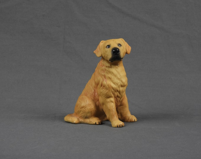 Vintage Dog Figure, Golden Retriever, Puppy Figurine, Gold & Black, Porcelain Statue, Home Decor, Seated Doggie, Canine Collectible