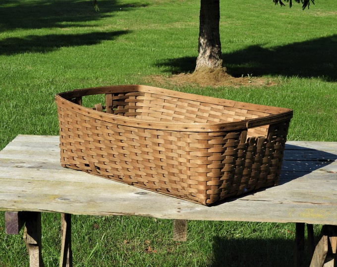 Antique Farmhouse Basket, Split Oak Laundry Storage, Wooden Home Decor, Decorative Splint Basket, Primitive 19th Century, Wood Basket