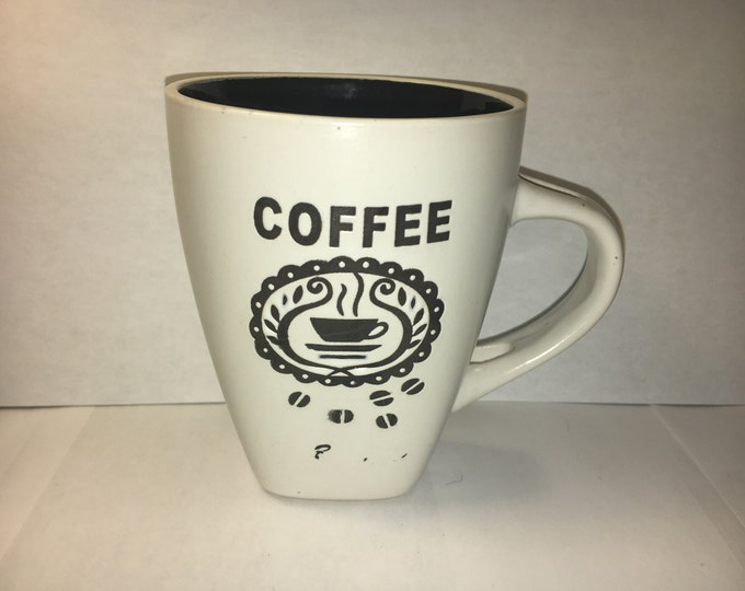 Vintage Coffee Cup, Ceramic Coffee Mug, White & Black Coffee Mug, Decorative Square Bottom Dinnerware, Coffee Collectible