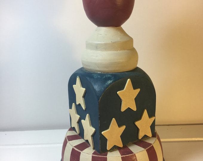 Vintage Americana Statue, Wooden Folk Art, Red Top Design Red White Blue Decorative Item, Wood Stars Stripes Pillar, Empire State Building