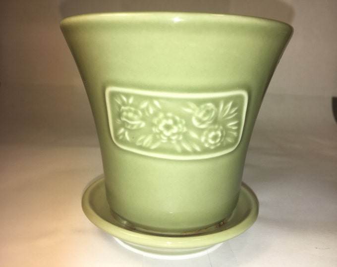 Vintage Longaberger Succulent Planter, May Series Green Flower Pot & Saucer, Longaberger Peony Collector's Series, Made in USA 3.75""