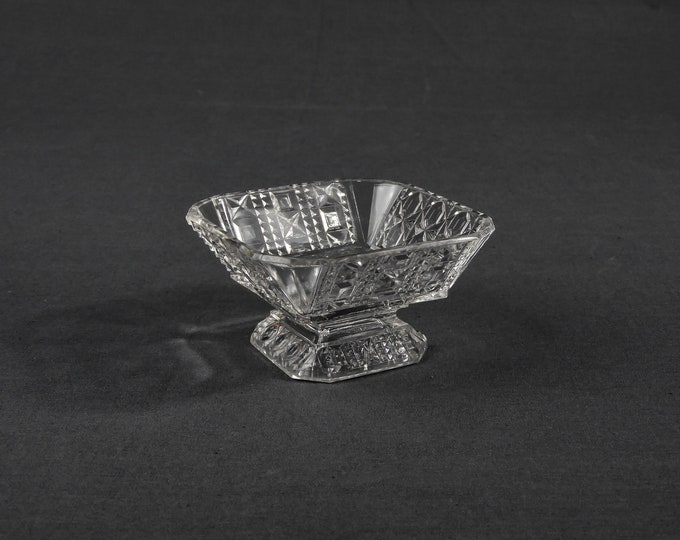 Antique Glass Compote, Valencia Waffle, Adams & Co, EAPG Star, Square Dish, Clear Glassware, Candy Holder, Home Decor, Collectible Bowl