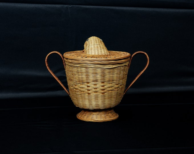 Vintage Salamander Basket, Woven Rattan, Greco Roman, Urn Shape, Dual Handle, Footed Base, Gold Brown, Home Decor, Wooden Creel