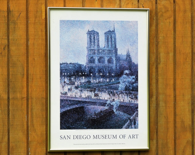 Vintage Notre Dame Poster, 1996 San Diego Museum of Art, Maximilien Luce 1858 - 1941, Brushed Frame, Purple & Silver, Wall Hanging Decor