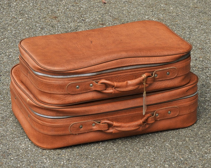 Vintage Nesting Luggage, 1970's Fingerhut, Rolling Suitcase, Compact Carry On, Cognac Brown, Soft Case, Vinyl w Silver Accents, Home Decor