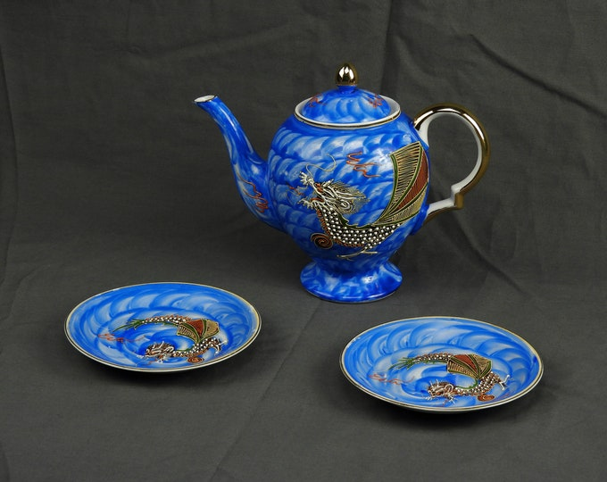 Vintage Asian Teapot & Saucers, Hong Kong China, Oriental Water Dragon, Chinese Tea Pot, Blue w Gold Trim, Fine China Dinnerware, Home Decor