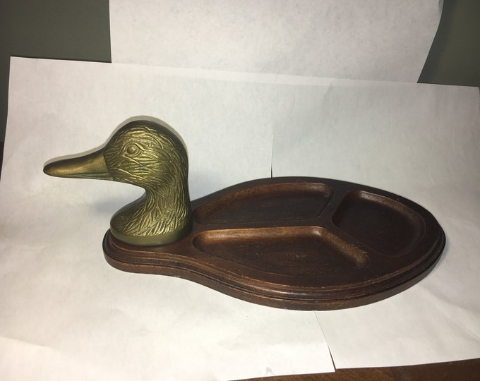 Vintage Solid Brass Tray, Gentleman's Duck Head Wooden Vanity Plate, Decorative Jewelry Dish Storage, Gold Brass Duck Head
