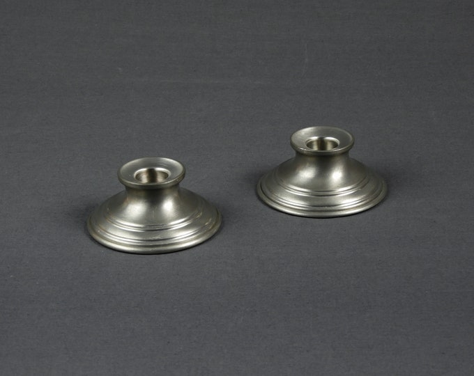 Vintage Candle Holders (2), Preisner Pewter, Candlestick Holder, Silver Color, Round 2163, Home Decor, Dining Room Decoration, Off Grid