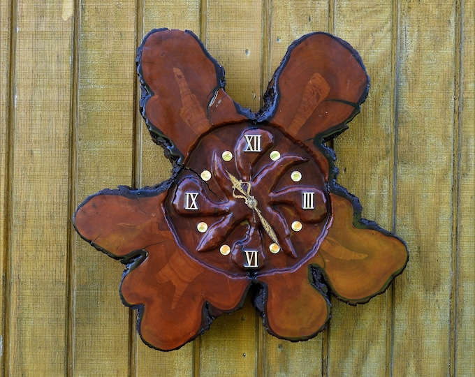 Vintage Burl Wall Clock, Live Edge Cypress, Wall Hanging Decor, Rustic Brass, Quartz Movement, Battery Operated, Carved Face, Copper Brown