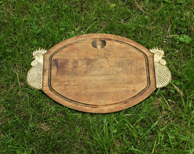Vintage Serving Tray, French Country Platter, Gold Rooster Cutting Board, Oval Wooden Kitchen Decor, Brass & Wood Platter, Summer Plate