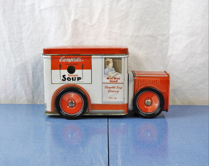 Vintage Truck Tin, Campbells Soup Box, Red & White Can, 1994 Bristolware, Collectible Metal Art, Trinket Storage, Kitchen Decor
