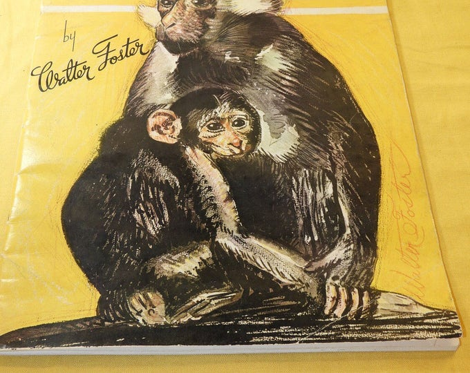 Vintage Art Instructional Crafts Book, Walter Foster How to Draw Animals Book,Gold Craft Instruction,Decorative Soft Back,Pencil Draw Monkey