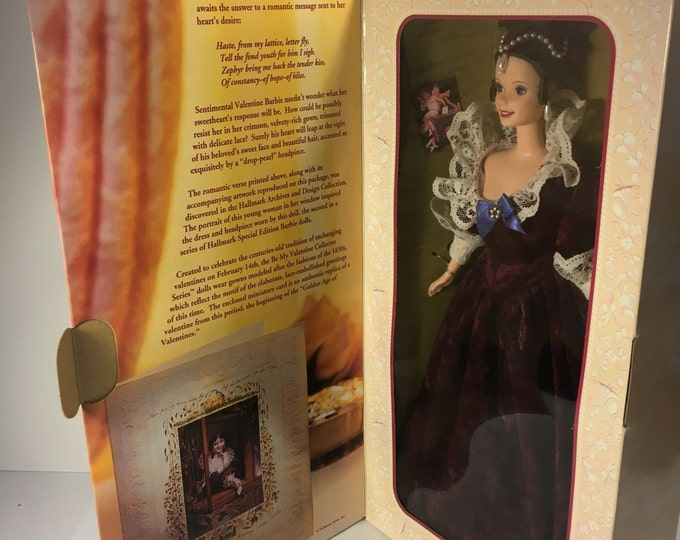 Vintage 1996 Barbie Doll, Sentimental Valentine Barbie, Red Velvet Valentine Barbie, Be My Valentine Collector Toy, Red Beige Toy