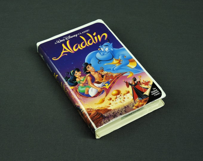 Vintage Aladdin Movie, Walt Disney, VHS Tape, 07 22 1993, The Classics, Buena Vista, Childs Film, Kids Cartoon, Purple Pink Decor