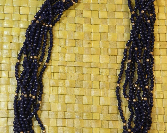 Vintage Blueberry Necklace, Multi Strand 10 Gold Bead Necklace, Seed Bead Jewelry, Dark Blue Gold Color End & Locking Clasp, Fashion Chain