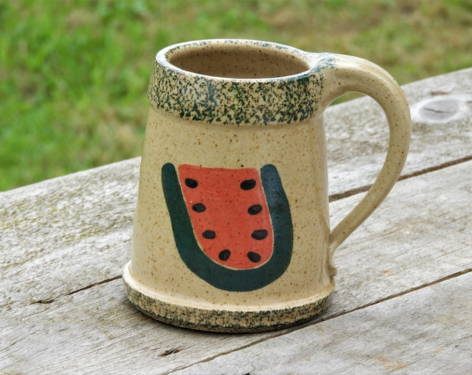 Vintage Pottery Stein, Three Rivers Stoneware, Beige Watermelon Mug, 1992 Ceramic Arts, Kitchen Decoration, Ingrid R Fruit Decor