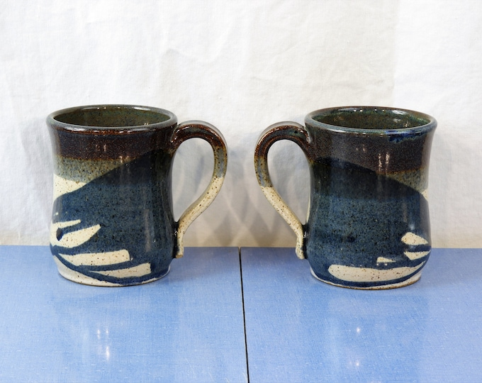Vintage Southwestern Mugs (2), Blue & Gray Coffee Cups, Stoneware Pottery, Abstract Art, Ceramic Arts, Home Decor, Kitchen Drinkware