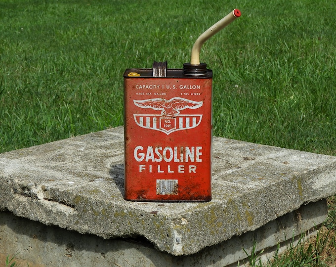 Vintage Advertising Can, Gasoline Filler, Eagle 1001, Rustic Distressed, One Gallon, Red White, Home Decor, Industrial Decoration, Garden