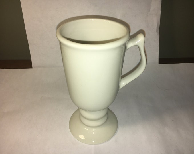 "Vintage Hall Mug, Ceramic Hall Goblet, #1273 Ivory on Ivory Pedestal Cup, Irish Mug Cup, 6"" Mug made in U.S.A."