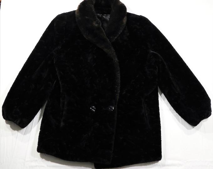 Vintage Black Faux Fur Coat, Borgazia Borg Textiles, Deep Pile, Dubrowsky & Perlbinder, Union Tag, Shawl Collar, Womens Fashion
