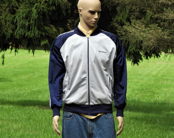 Vintage MacGregor Jacket, Blue & Silver Track Coat, Large Mens Coat, Lightweight Clothing, Unisex Varsity Wear, Sports Apparel