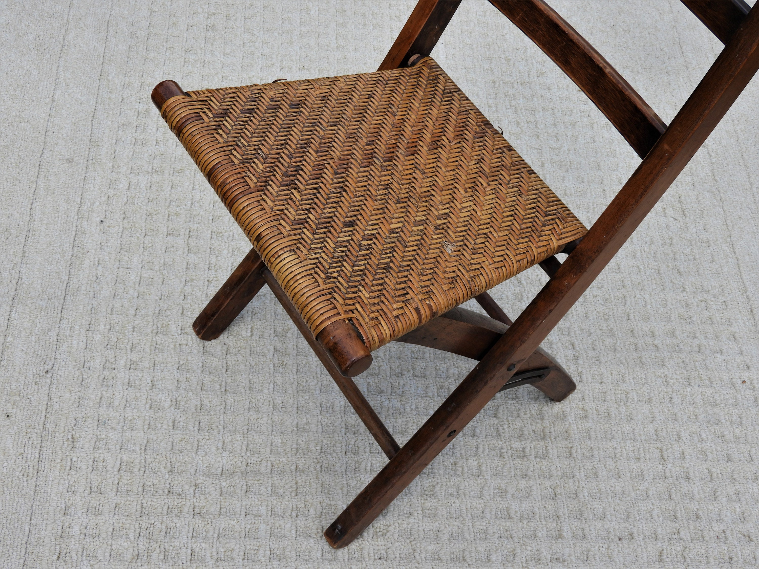 Vintage Bentwood Chair Ladder Back Folding Chair Woven